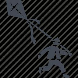 child, kite, launch a kite, snake icon