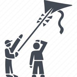 children fly a kite, flying, kite, play icon