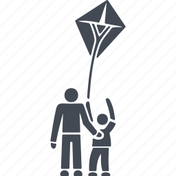 flying, kite, launch a kite, play icon