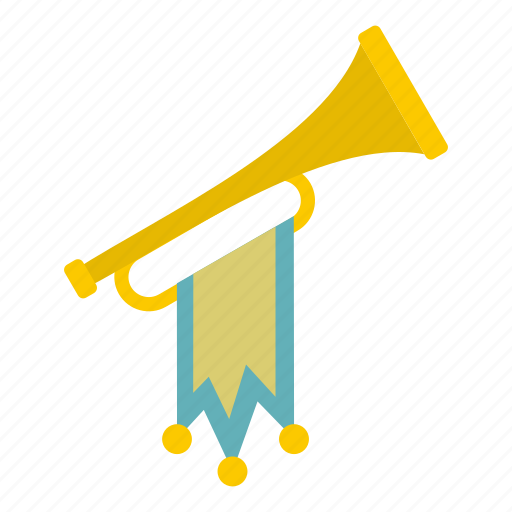 ancient, announce, flag, historical, medieval, old, trumpet icon