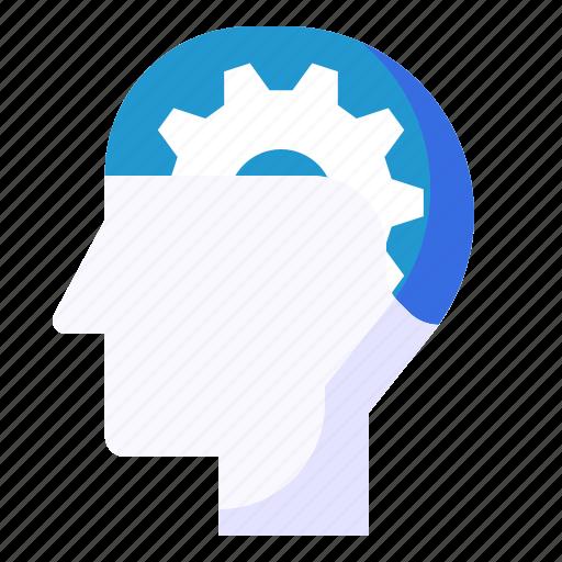 Cogwheel, gear, head, mind, performance icon - Download on Iconfinder