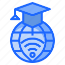 education, elearning, globe, learning, online icon
