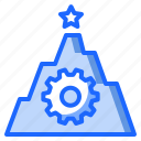 attempt, gear, goal, star, success icon