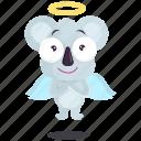 angel, emoji, emoticon, koala, smiley, sticker