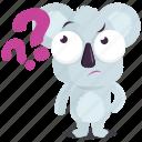 emoji, emoticon, koala, question, smiley, sticker, wonder icon