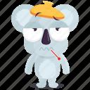 emoji, emoticon, koala, sick, smiley, sticker