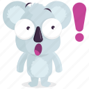 emoji, emoticon, exclaimation, koala, smiley, sticker, surprise icon