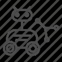 lunar, rover, astronomy, cosmos, hand, wheel, head