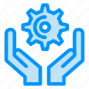 cog, gear, hands, hold