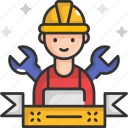 construction worker, contractor, labor, labour, worker icon