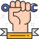hand, labor day, labour, maintenance, spanner, support icon