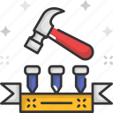 construction and tools, hammer, hammer tool, hammering, nails icon
