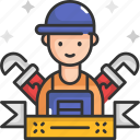 handyman, labor day, plumber, repair, water, worker icon