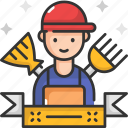 clean, housekeeping, labor, man, worker icon