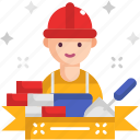 bricks, builder, construction, craftsman, structure, wall icon