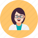 avatar, doctor, happy, laboratory, profile, scientist, woman