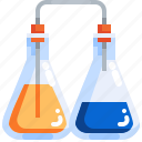 chemical, chemistry, experiment, flasks, laboratory, science, testing icon