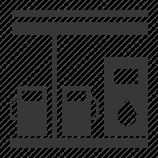 gas station ×, petrol station, transport icon