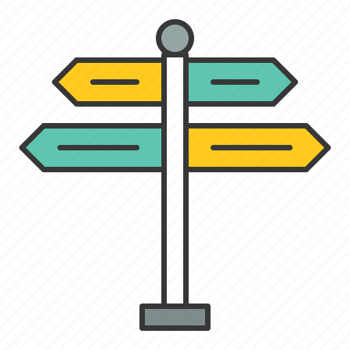 guidepost, road signs, traffic, transport icon