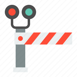 rail barier, railroad crossing, railway crossing stop sign, road signs, sign, transportation icon