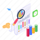 business, analytics, report, analysis, audit, statistical, document, loupe, chart, illustration, vector, isometric