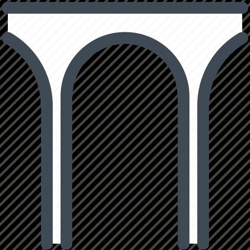aqueduct, arch, bridge, road, travel icon