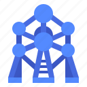 atomium, brussels, building, landmark, monument icon
