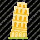 leaning, landmark, italy, pisa, travel icon