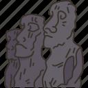 ahu, tongariki, moai, statue, chile