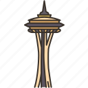 space, needle, tower, seattle, downtown