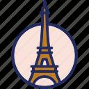 landmark, paris, tour eiffel, france icon
