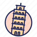 italy, landmark, pisa, tower icon