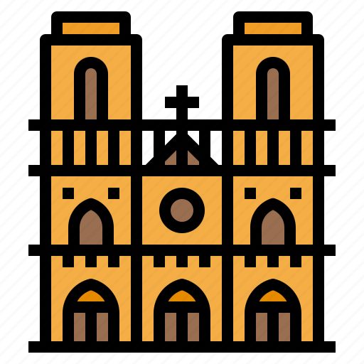 building, dame, landmark, notre, paris icon