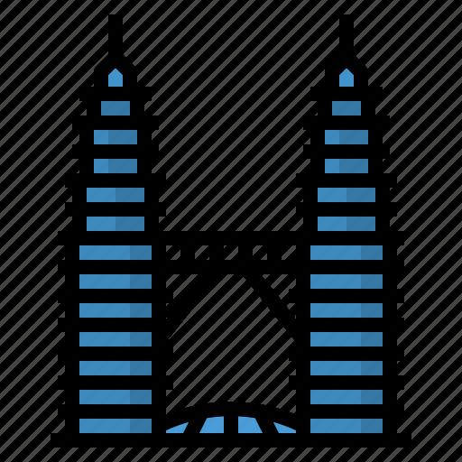 kuala, landmark, lumpur, malaysia, petronas, towers icon