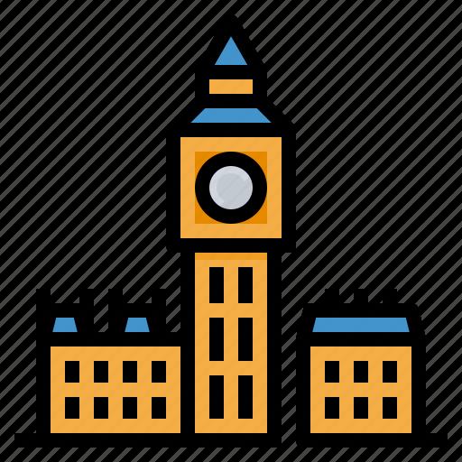 ben, big, clock, landmark, london, tower icon