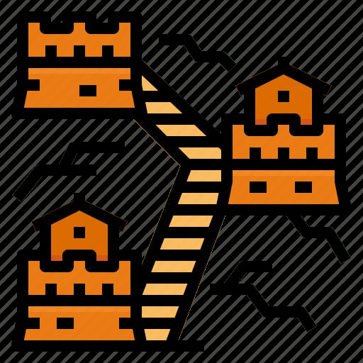 china, great, landmark, wall icon