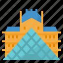 landmark, louvre, museum, paris, pyramid icon