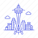 landmarks, national, needle, seattle, space, symbol, tower, usa, washington icon