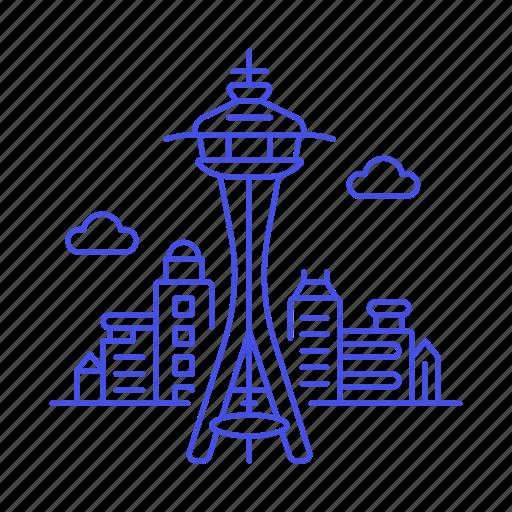 landmarks, national, needle, seattle, space, symbol, tower, usa, washington icon