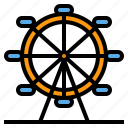 ferris, wheel, funfair, landmark, big, building icon