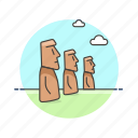 architecture, easter, famous, island, landmark, moai, monument, polynesia icon