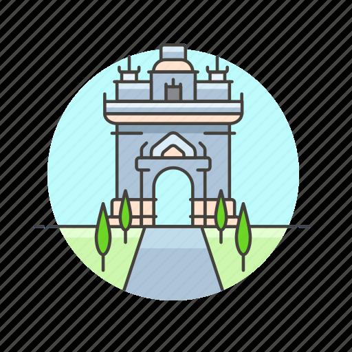 architecture, famous, gate, landmark, monument, of, paris, triumph icon