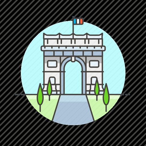 architecture, famous, france, gate, landmark, monument, paris icon