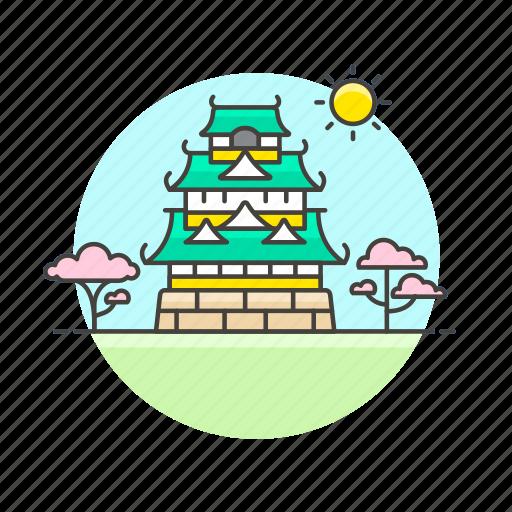 architecture, blossom, castle, cherry, famous, japan, landmark, monument icon