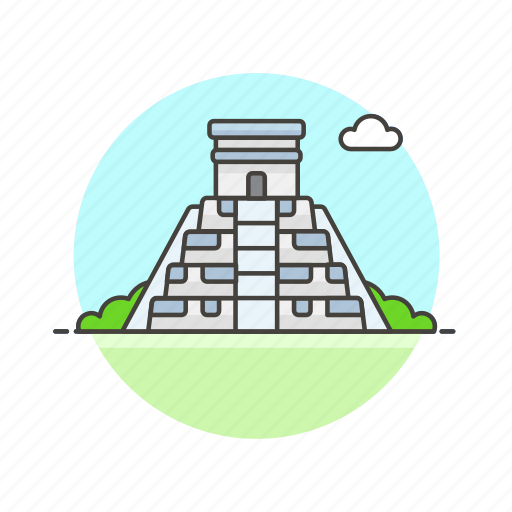 ancient, architecture, famous, landmark, mesoamerican, monument, pyramid icon