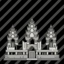 landmarks, park, famous, archaeological, world, angkor icon
