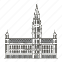 town, landmarks, famous, world, brussels, hall icon