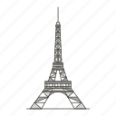 famous, landmarks, eiffel, tower, world icon