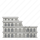 famous, landmarks, colosseum, world icon