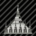 pagoda, famous, landmarks, shwedagon, world icon